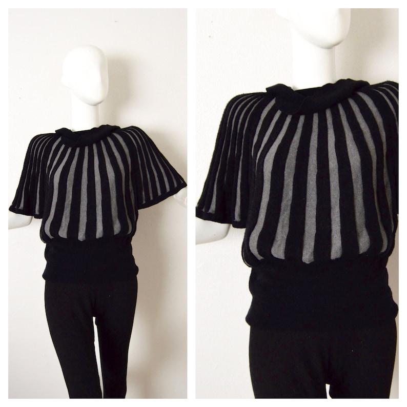 45ffb273e9 Striped Wool Sweater Blouse Short Sleeve Wool Sweater Knit