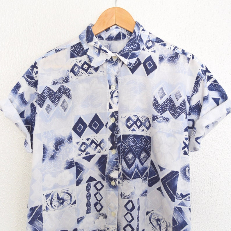d93ab5265eca0 Abstract Floral Blouse Blue Shibori Top Short Sleeve