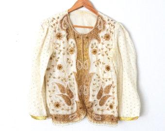 Vintage Bolero Jacket | White & Gold Beaded Floral Jacket | Womens Cropped Bolero Jacket Fringe Beaded Spanish Jacket Paisley Beaded Jacket