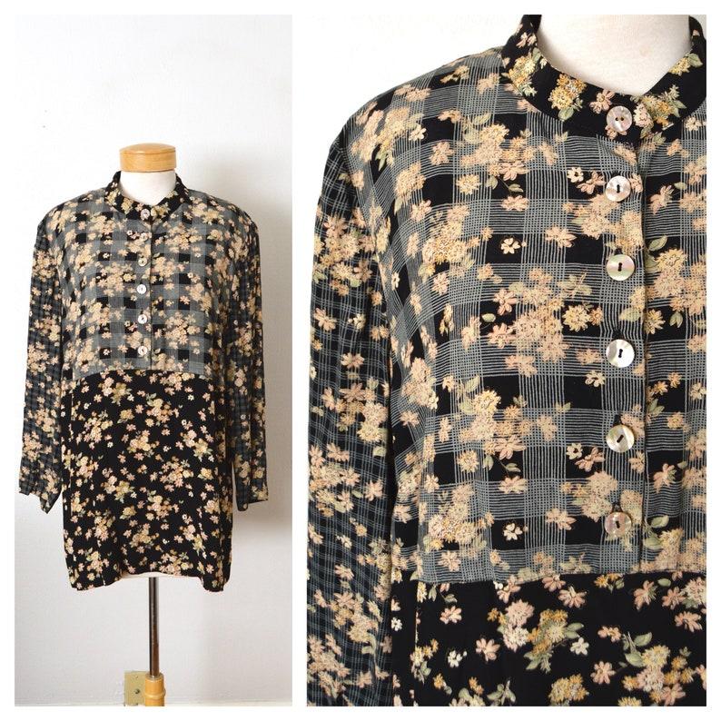 90s Grunge Floral Plaid Rayon Tunic Top 1990s Black Floral Rayon Blouse CAROLE LITTLE Women/'s Size XL