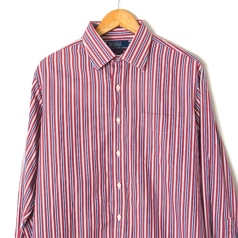 ce82d2fb9 80s Vintage POLO RALPH LAUREN Mens Shirt Red White Blue