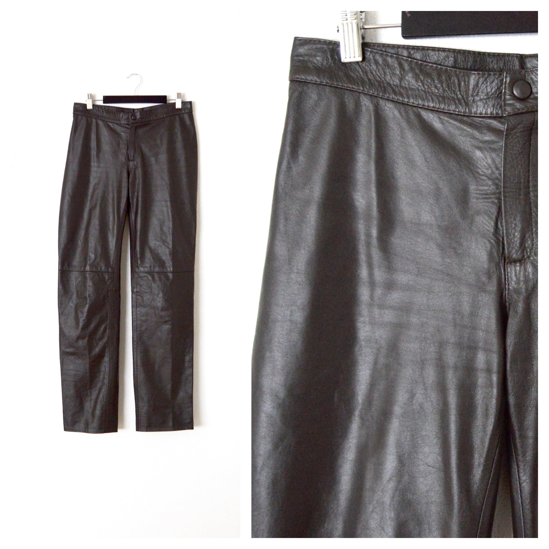 d5fb5a2d81 Vintage Leather Pants Women's Leather Straight Leg Pants | Etsy