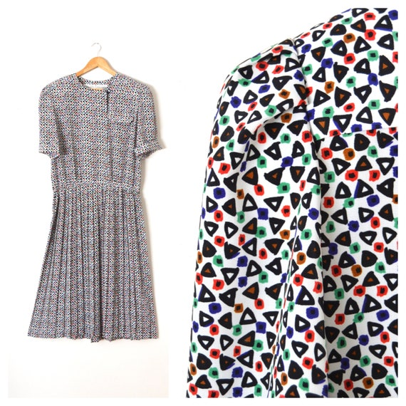 80er Jahre Shirt-Kleid mit Gürtel Gemusterte Plissee Midi | Etsy