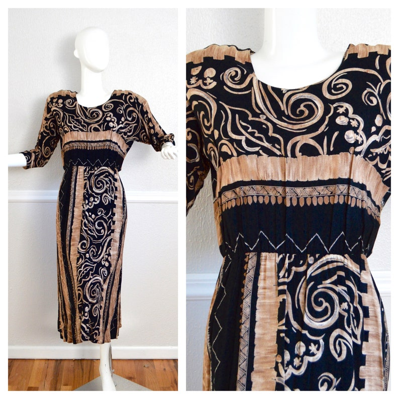 Tribal Print Dress Brown   Black Abstract Dress Short Sleeve  3e05ad15d