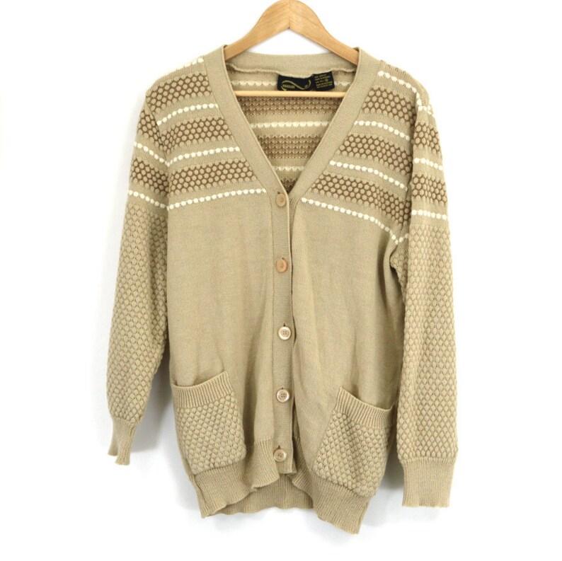 85da4a59ff55d3 Vintage Oatmeal Grandpa Cardigan Tan Honeycomb Knit Cardi   Etsy