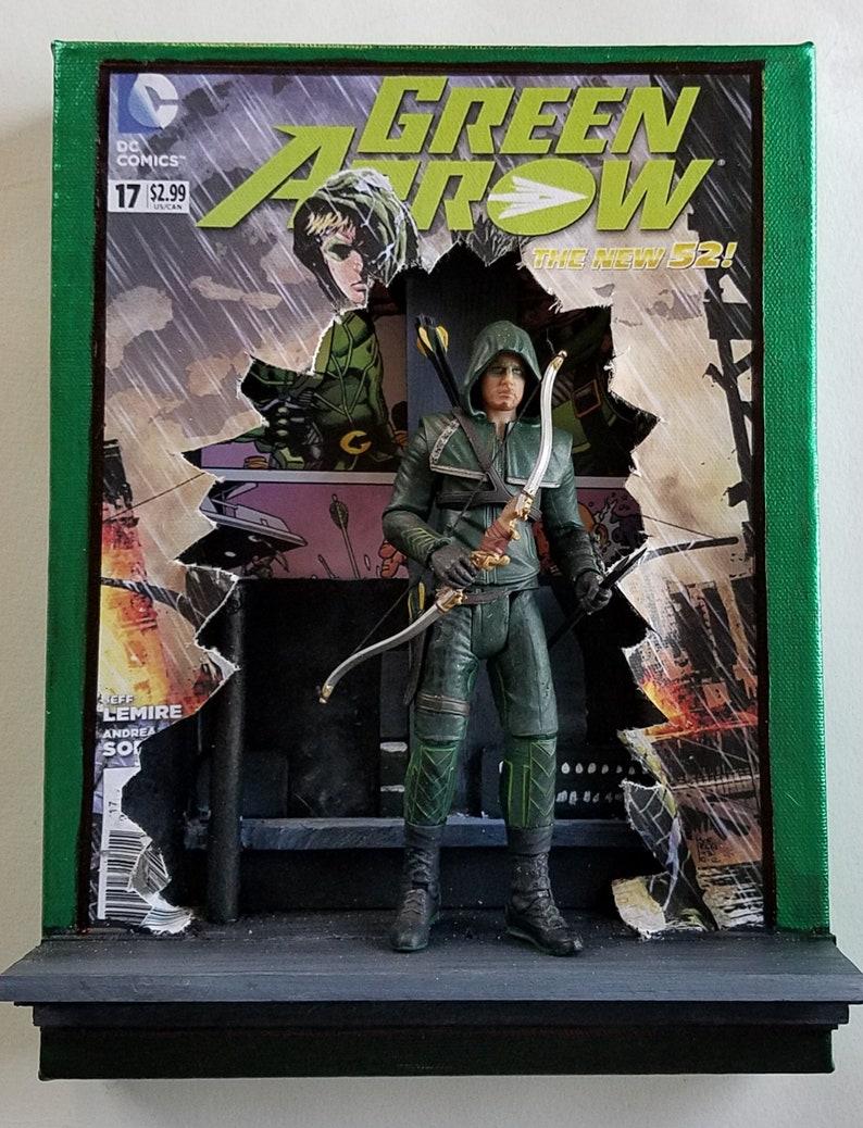 mixed media on canvas 9x12 Green Arrow
