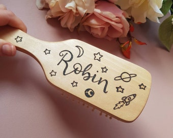 Personalised hair brush, wooden hair brush, customised brush, custom hair brush, gifts for girls, girls brush, beauty products, hair care