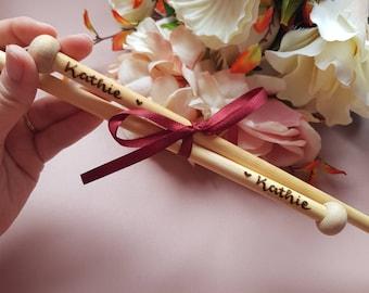 Knitting needles, personalised knitting needles, custom knitting needles, bamboo knitting needles, knitting supplies, grandma gift, mum gift