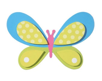 Bright Butterfly Painted Wood Cutout