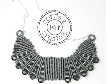 Macramé Bib Necklace Kit with Swarovski Crystals