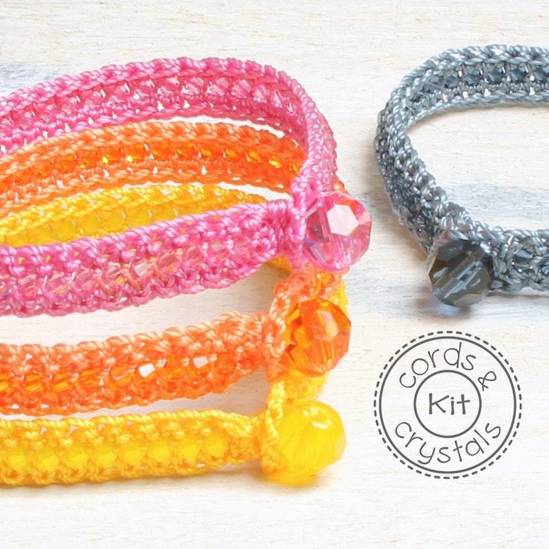 Crochet Bracelet Kit with Swarovski Crystals  pattern image 0