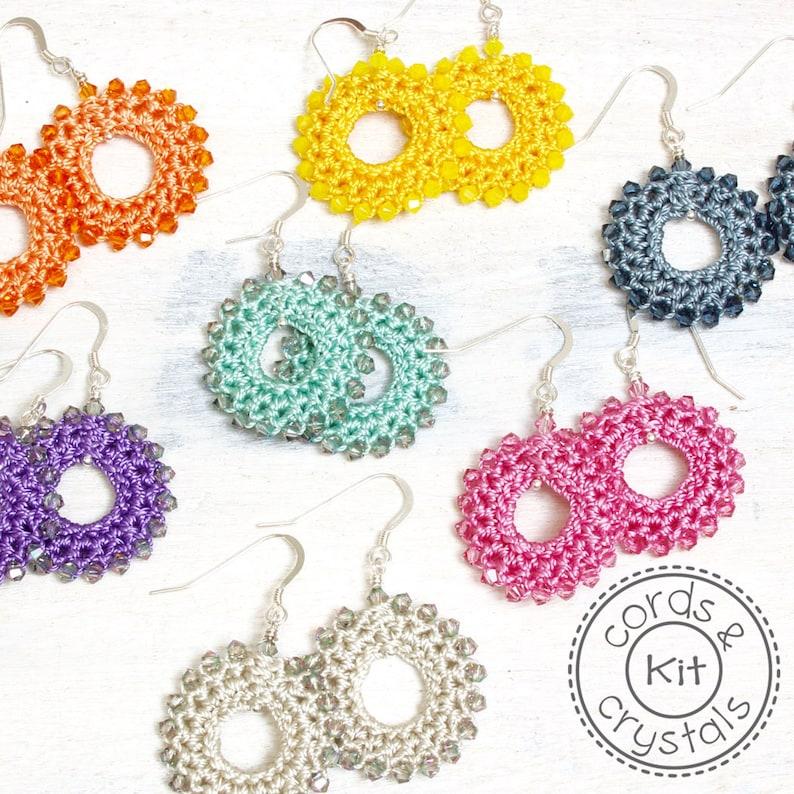 Crochet Earrings Kit with Swarovski Crystals image 0