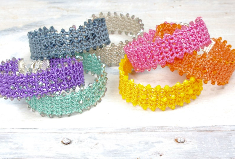Crochet Bracelet handmade with Swarovski crystals image 0