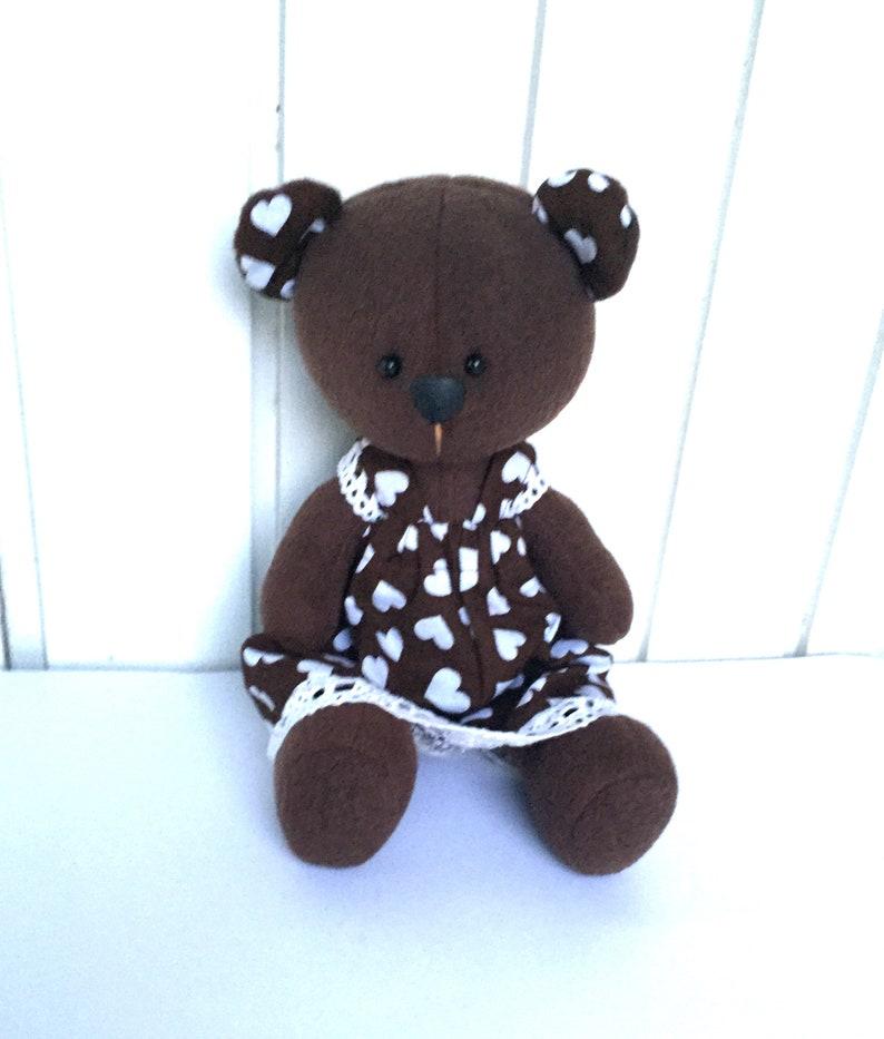 Teddy Bear in dress Plush Teddy bear Sewn Fleece Brown Teddy Bear Handmade Teddy Bear Stuffed Teddy bear Teddy Bear Girl