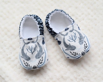 Narwhal Baby Shoes, Nautical Baby, Soft Sole Shoes, Baby Boy Shoes, Baby Girl Shoes
