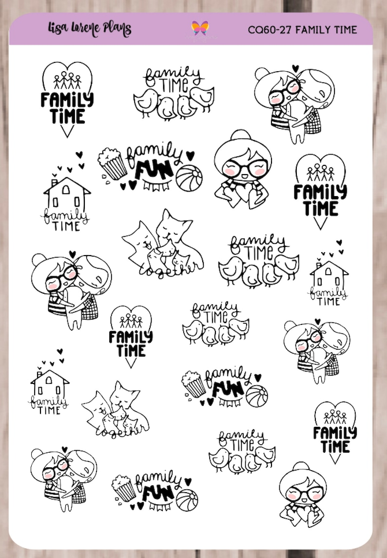 SANDY FAMILY TIME Planner Stickers   Doodle Character  image 0
