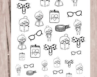 SANDY PLANNER GIRL Stickers | Neutral Doodle Character | perfect for all planners |CQ60-10