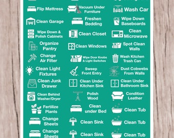 June Monthly Cleaning Housework Planner Stickers for all planners L49f