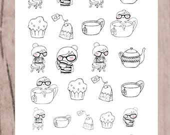 SANDY TEA TIME Planner Stickers | Doodle Character | Neutral Stickers for all planners | CQ60-5