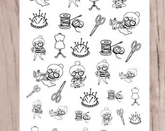 SANDY SEWING Planner Stickers | Doodle Character | Neutral stickers perfect for all planners | CQ60-13