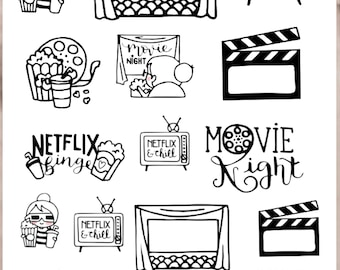 SANDY MOVIE NIGHT Planner Stickers |  Doodle Character | Neutral Stickers for all planners | CQ60-33