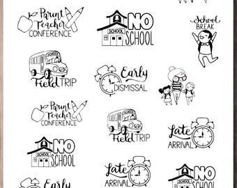 SANDY SCHOOL  Planner Stickers |  Doodle Character | Neutral Stickers for all planners | CQ60-30