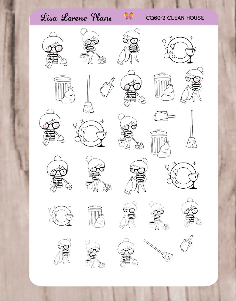 SANDY CLEAN HOUSE  Doodle Planner Stickers   neutral   perfect for on planner sheets, planner backgrounds, planner art, planner ideas, planner brands, planner love, planner templates, planner fun, planner paper, planner stamps, planner icons, planner quotes,