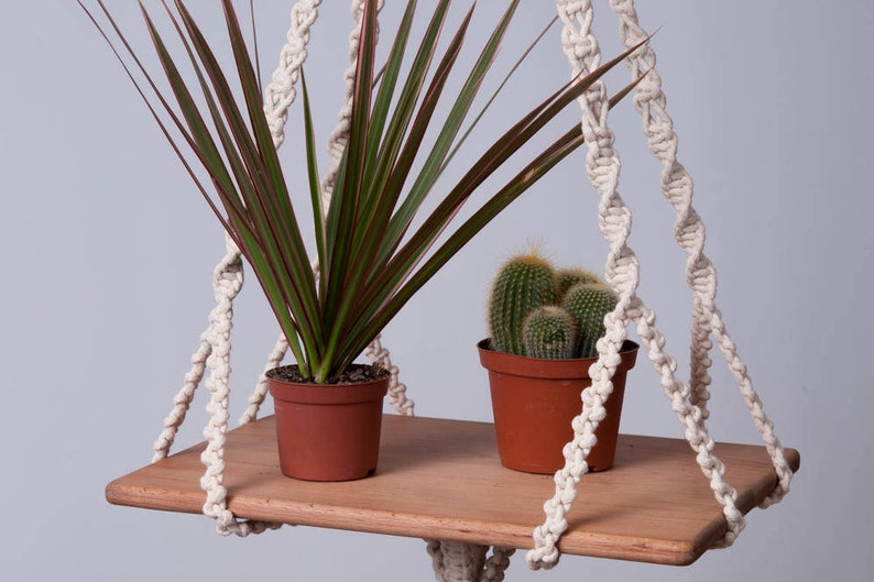 Macrame hanging table modern plant hanger hanging shelf 5 mm image 0
