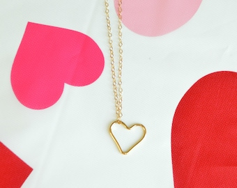 Large Heart Necklace Heart Necklace Gold Heart Necklace Minimalist Heart Necklace Valentines Necklace Simple Heart Necklace