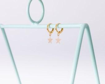 Star Dangle Huggles, Small Hoop Earrings