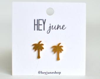 Palm tree stud earrings, beach earrings, gold palm tree earrings, summer earrings, vacation earrings, palm tree studs, silver palm trees