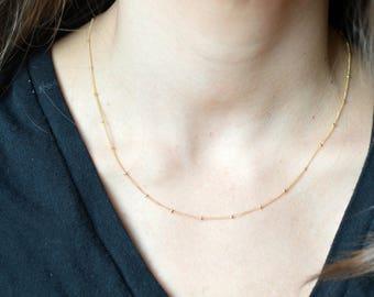 Zora necklace, satellite necklace chain, gold satellite necklace, satellite chain choker, 14k gold filled necklace chain,