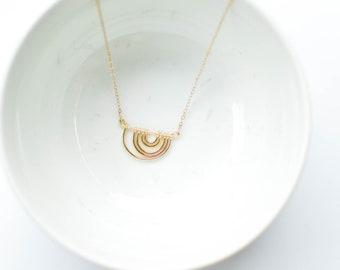 Willa necklace, rainbow necklace, hammered hoop necklace, upside down rainbow necklace, curved bar necklace