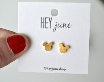 mickey mouse stud earrings, disney earrings, mickey earrings, disney studs, gold mickey mouse studs, gold disney earrings,