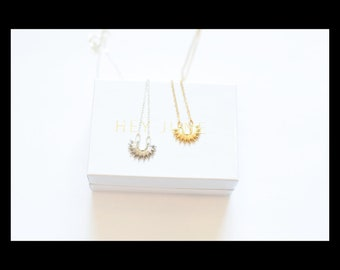 Phoebe Necklace, sun necklace, gold or silver