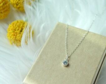 tiny silver blue topaz necklace, tiny silver charm necklace, blue topaz necklace, minimalist silver necklace, bridesmaid necklaces
