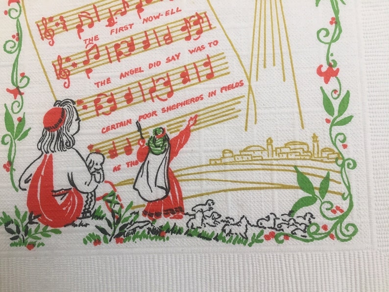 1960 Vintage Songs of Christmas Holiday Napkins and Vintage Space Age Napkins Circa 1950