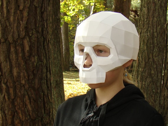 skull mask papercraft download and make party mask printable etsy