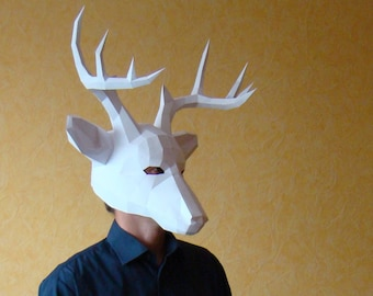 Deer papercraft Mask, Download and make your own low poly mask, printable DIY PDF
