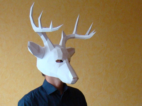 deer papercraft mask download and make your own low poly etsy