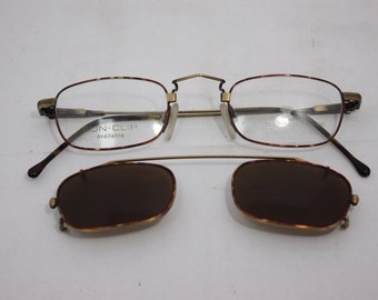 0e7eb87a83e Neostyle NOS Vintage Eyeglasses College 76 44mm Antique with clip on  sunglasses