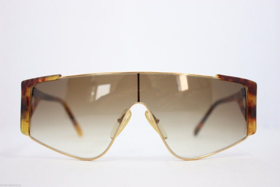 Maga design Vintage Sunglasses Made in Italy 3032A RARE Gold Black 65mm