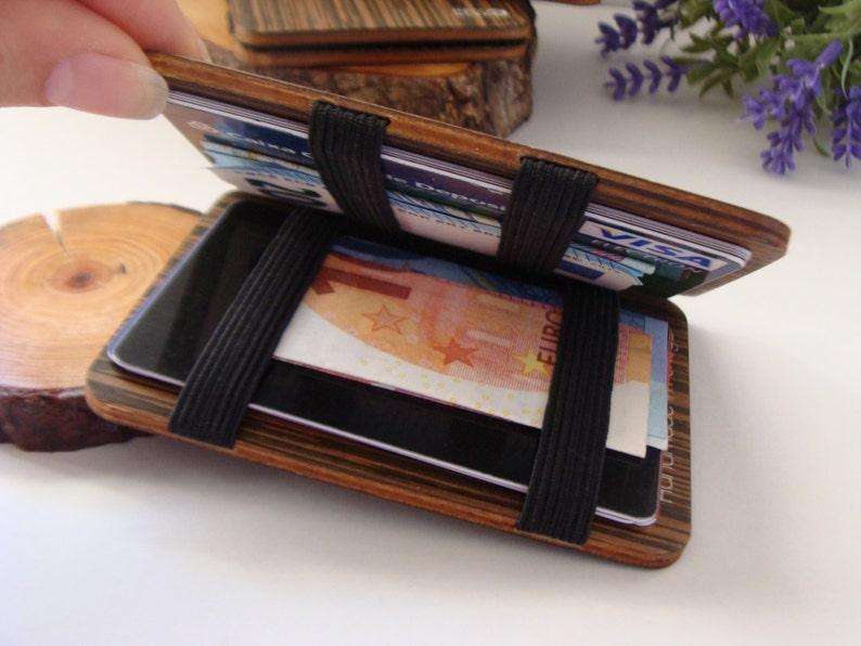 wooden wallet credit card wallet women's and men's  etsy