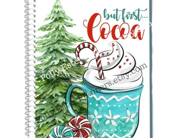 Christmas Planner Covers, Holiday Cocoa Mug with Christmas Tree Planner Cover for use with Erin Condren Planners, Recollections Planners