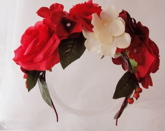 Red Rose Flower Crown, Summer Headband, Red Flower Crown, Spring Headband, Wedding Crown, Garden Wedding, Secret Garden, Garden Party, KELLY
