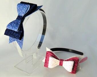 Glitter Bow Headband, Large Felt Bow, Double Bow, Blue Headband, Pink Headband, Party Hat, Photo Prop, Mad Hatter, Frozen, HEBE