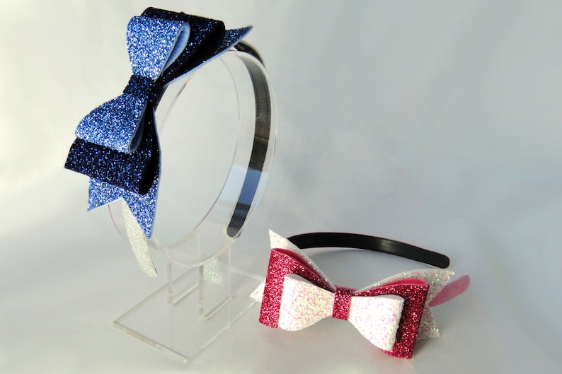 Glitter Bow Headband Large Felt Bow Double Bow Blue image 0