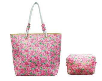 Lilly inspired tote with matching accessory bag
