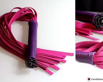 Handmade grey Purple Leather / pink (OOAK)