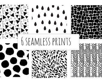 6 monochrome changeable colour seamless pattern all over prints pack 1